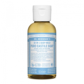 Sapun lichid de Castilia 18-in-1 Inodor, pentru bebelusi si piele sensibila – 60 ml