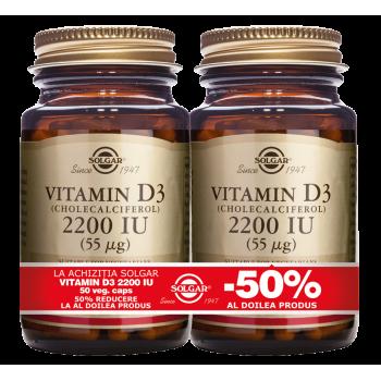 Vitamin D3 2200ui 50cps PACHET 1+1-50%