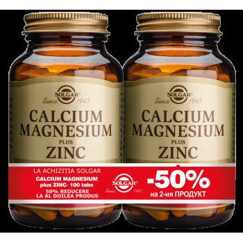 Calcium Magnesium + Zinc 100 tablete PACHET 1+1-50%