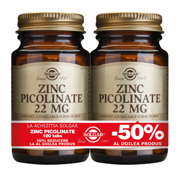 Zinc Picolinate 22mg 100 tablete PACHET 1+1-50%