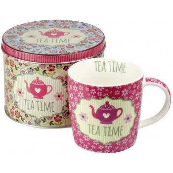 Set ceai: Cana + Cutie metalica (roz antic) 300ml