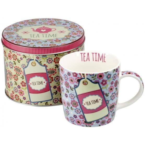 Set ceai: Cana + Cutie metalica (albastru pastel) 300ml