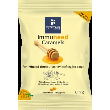 Immuneed Caramels -  Dropsuri pentru gat iritat cu gust de Miere & Menta 60g