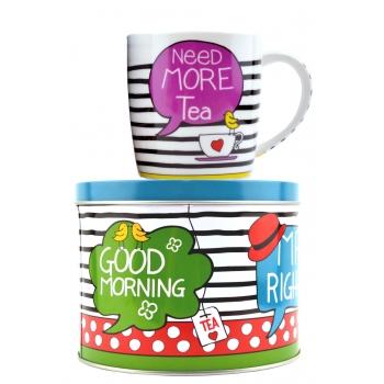 "Set ceai: Cana portelan + Cutie metalica ""Need more tea"" 300ml"