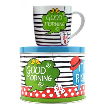 "Set ceai: Cana + Cutie metalica ""Good morning"" 300ml"