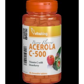 Vitamina C 500 mg cu acerola gust de căpșuni - 40 comprimate masticabile