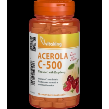 Vitamina C 500 mg cu acerola cu gust de zmeură - 40 comprimate masticabile