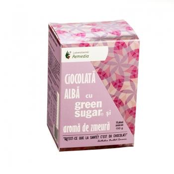 Ciocolata alba cu Green Sugar si aroma de zmeura (10 plicuri)