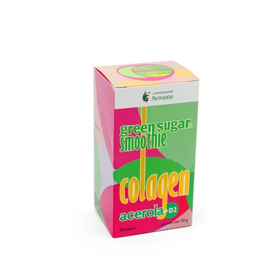 Smoothie cu Green Sugar, Colagen, Acerola + D2 (10 stickuri)