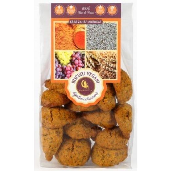 Biscuiti vegani digestivi cu turmeric si mac (fara zahar adaugat) 150 gr - AMBROZIA
