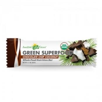 Baton cu chipsuri de ciocolata si cocos Amazing Grass, 60 gr