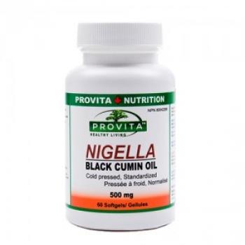Nigella - Ulei de chimen negru, 500 mg - 60 capsule moi / Provita