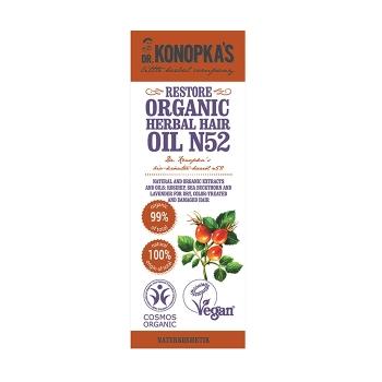 Ulei organic No.52, regenerant pentru par uscat, deteriorat, 30 ml - Dr. Konopka