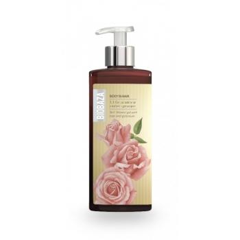 Sampon si gel de dus natural cu trandafiri si geranium, 400 ml - BIOBAZA