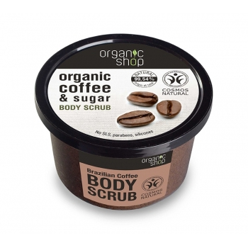 Scrub de corp delicios cu zahar si cafea Brazilian Coffee, 250 ml - Organic Shop