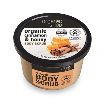 Scrub de corp delicios cu miere si scortisoara Honey Cinnamon, 250 ml - Organic Shop