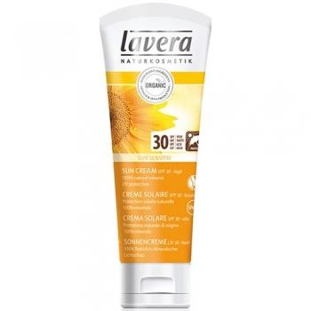 Crema bio protectie solara inalta FPS 30, piele sensibila, 75ml - LAVERA