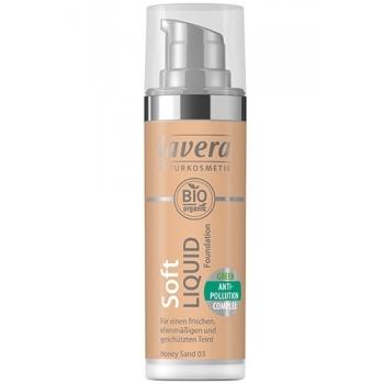 Fond de ten Soft Liquid cu complex anti-poluare - Honey Sand 03, 30ml - LAVERA