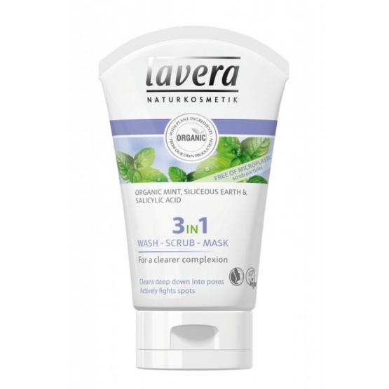 Gel de curatare scrub si masca 3 in 1, purificator & antiacnee - LAVERA