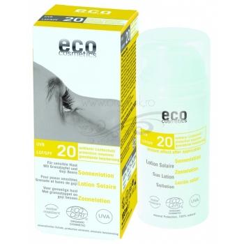 Lotiune fluida de protectie solara FPS 20 cu goji si rodie, 100 ml - Eco Cosmetics