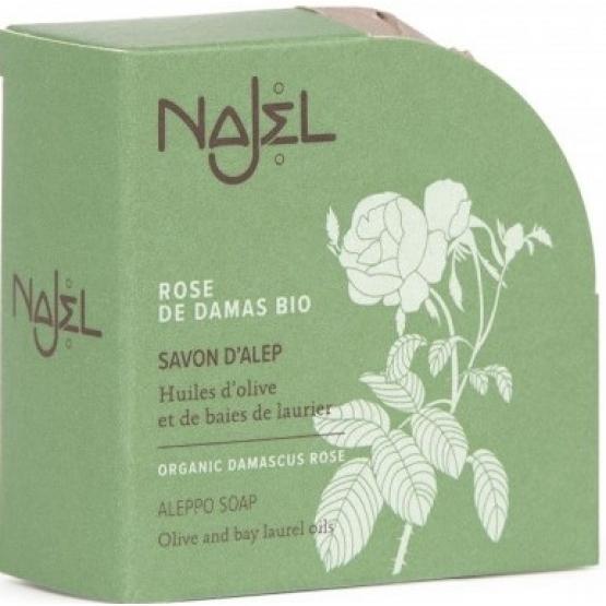 Sapun de Alep cu trandafir organic de Damasc, 100g - NAJEL