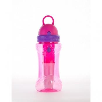 Sticla de apa cu filtru de carbon si gel de racire non toxic, 414 ml ROZ - Irisana