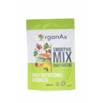 Smoothie Mix, Daily Greens, iarba de grau, acai si goji, OrganAx, 120 g