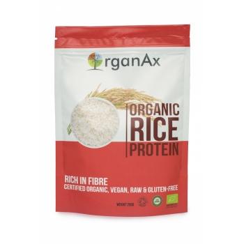 Pudra proteica din orez organic, aminoacizi, vitaminele B si E, OrganAx, 250 g