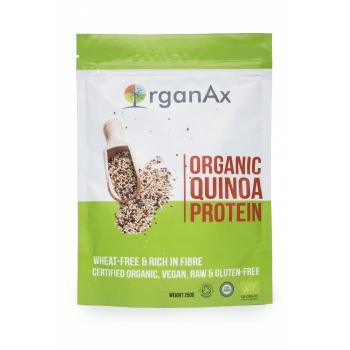 Pudra proteica din quinoa organica, fier, calciu, magneziu si minerale, OrganAx, 250 g