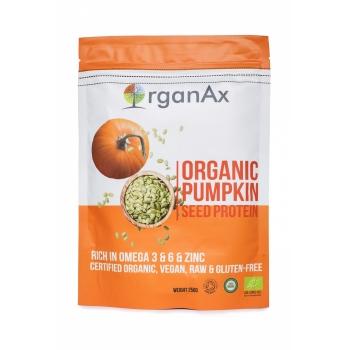 Proteine din seminte de dovleac organic, vitaminele E, B si fier, OrganAx, 250 g