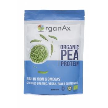 Pudra proteica din mazare organica, fier si aminoacizi, OrganAx, 250 g